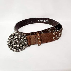 Express Statement Buckle Leather Belt Sz S
